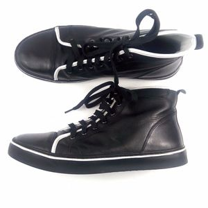 ROCKPORT 12 Black/ White Stripe Patent High Top